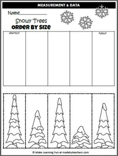 free winter order by size activity cut and paste the trees in order by size for teachers