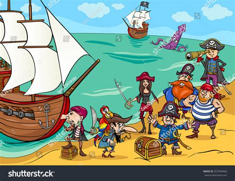 Cartoon Illustrations Fantasy Pirate Characters Ship Stock