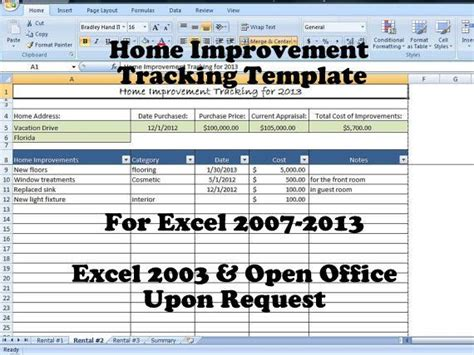 home improvement tracking template  excel spreadsheet