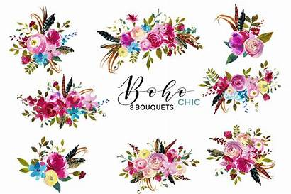 Boho Watercolor Flowers Clipart Pink Chic Floral