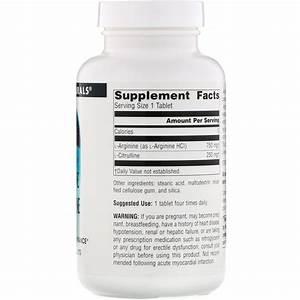 Source Naturals  L-arginine L-citrulline Complex  1 000 Mg  120 Tablets