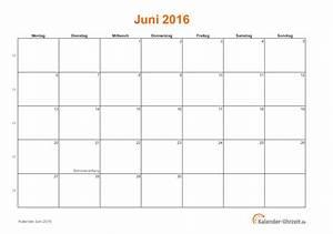 Kalender Zum Ausdrucken 2016 : juni 2016 kalender mit feiertagen ~ Whattoseeinmadrid.com Haus und Dekorationen