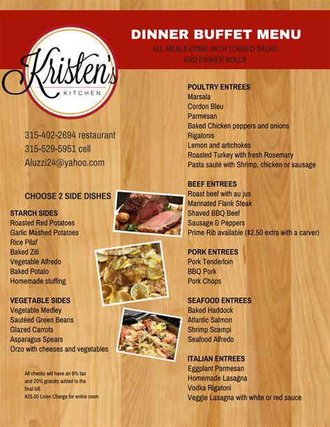 what is a kitchen island dinner buffet menu