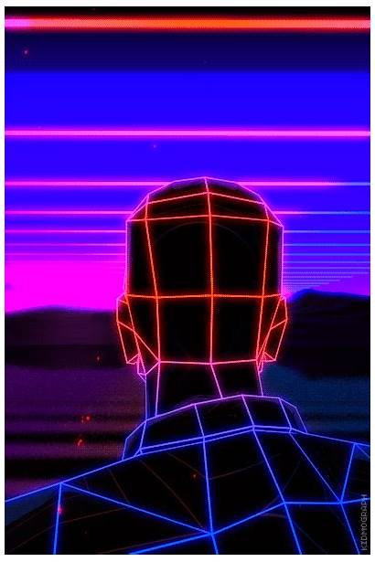 Retro Gifs Synthwave Loop Wave Kidmograph Wireframe