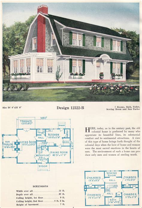 dutch colonial revival gambrel roof shed dormers bowes antique home plans