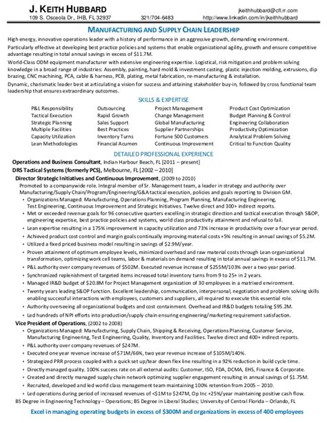 j keith hubbard resume manufacturing and supply chain