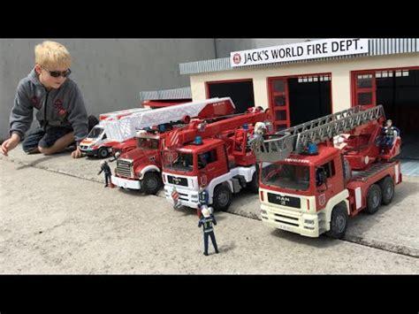bruder fire truck bruder fire trucks new fire dept in jack s bworld filmed