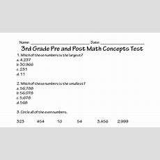 3rd Grade Math Concepts Test Printable Worksheet With Answer Key  Lesson Activity