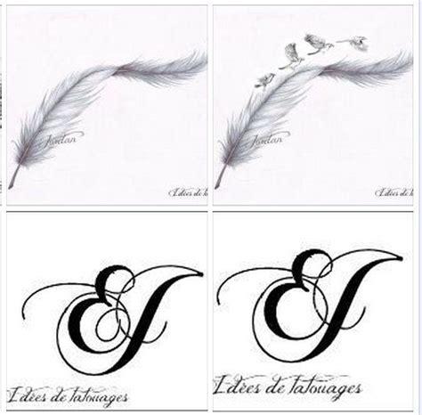 plumes initiales  oiseaux pour tatouage modele dessin