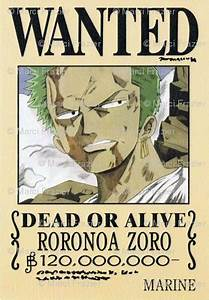 Zoro's wanted poster from One Piece fabric - marcifrazier ...