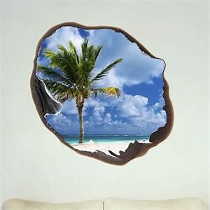 Trompe L Oeil Mur : sticker muraux trompe l 39 oeil sticker mural palm et le ciel dans le trou ambiance ~ Dode.kayakingforconservation.com Idées de Décoration