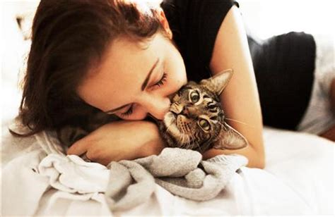 girl  kiss  cat hd wallpapers