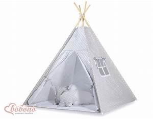 Tipi Pour Enfant : tipi teepee pour enfant avec textile gris pois ~ Teatrodelosmanantiales.com Idées de Décoration