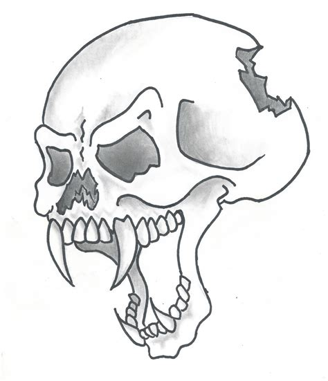 cartoon style skull  sticksnstones  deviantart