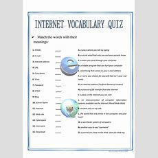 Internet Vocabulary Quiz Worksheet  Free Esl Printable