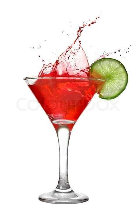 red martini red cocktail with splash and lime isolated on white