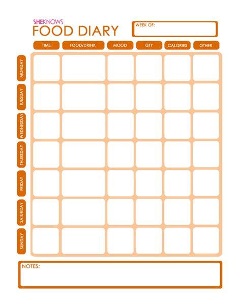 printable food diary template