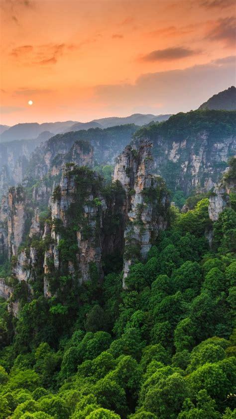 zhangjiajie national forest park  sunset wulingyuan