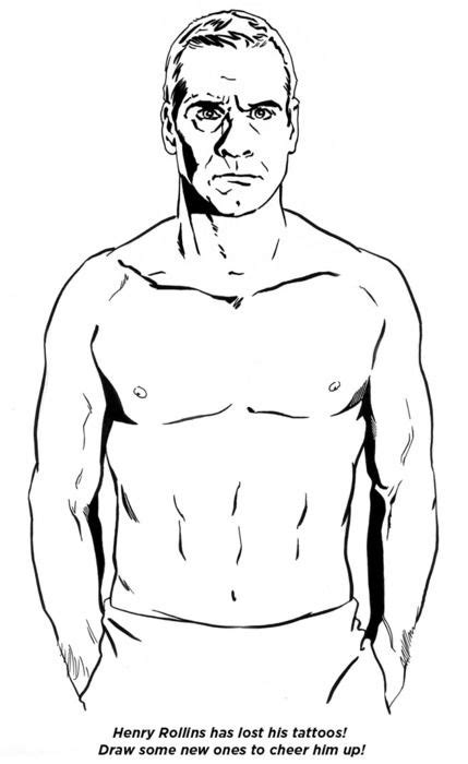 Henry Rollins has lost his tattoos! Draw some new ones to