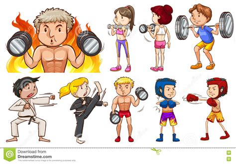 People Doing Different Types Of Sports Stock Vector