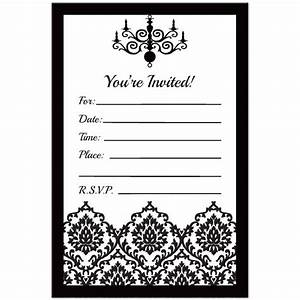 Blank black and white wedding invitations templates for Black and white wedding invitations free download