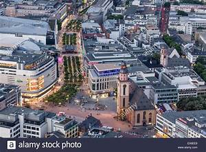 Aerial view of the main shopping street in the city of ...