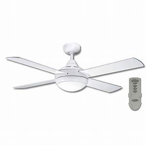 Primo ceiling fan with light and remote in white