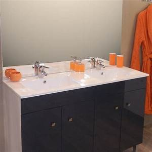 plan vasque double en ceramique de salle de bain With plan vasque salle de bain 120 cm