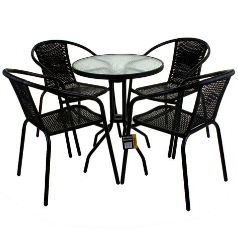 Bistro Patio Furniture by Bistro Patio Set Table 4 Chair Wicker Metal Outdoor Garden