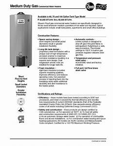 Ruud Commercial Water Heaters Manuals