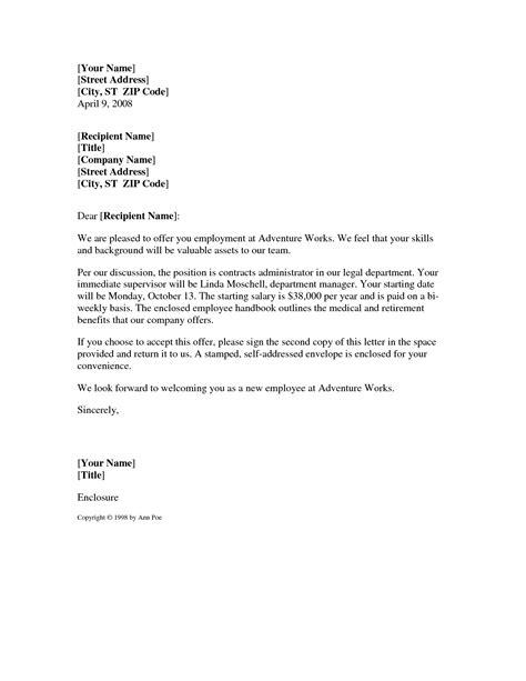 offer letter format sample job offer