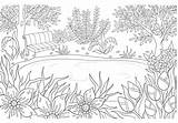Coloring Landscape Summer Scenery Adult Adults Pond Colorir Paysage Colorare Colorear Kleurplaat Journal Coloriage Pagina Flores Adulto Flower Voor Paesaggio sketch template
