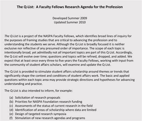 format  academic research agenda