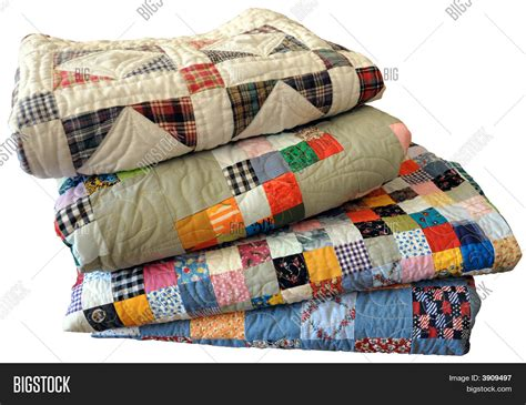 Stack Handmade Quilts On White Vector & Photo