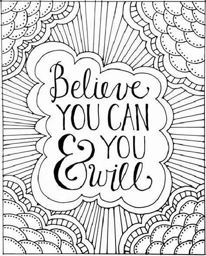 Coloring Adult Positive Printable Inspirational Quote Quotes
