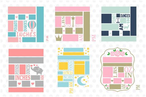 If you are using the svg format, you will want to fill in the boxes and then delete the boxes once they are filled in with your custom. Baby Birth Announcement Bundle #1, svg Cut Files ...