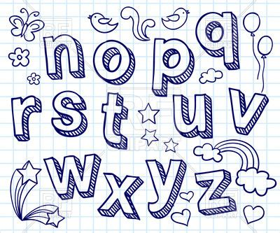 hand drawn font shaded letters  decorations vector