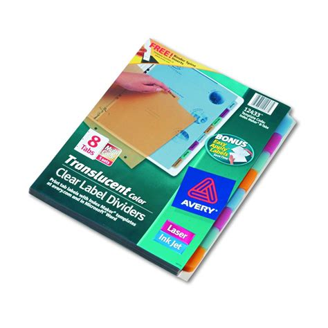 avery 8 tab index avery dennison index maker clear label divider im trans 8tab ast pack of 5 model 12433