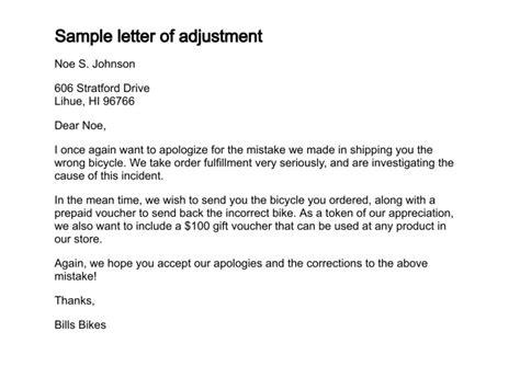 write  letter  adjustment