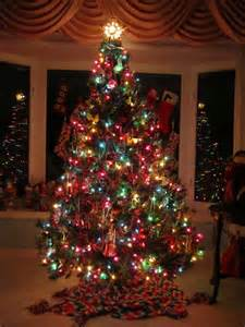 decoration ideas traditional tree with colorful lights and hanging decorations also