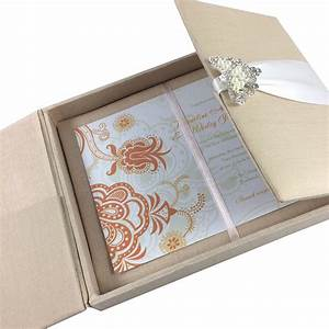 large hand crafted linen box for wedding invitation cards With wedding invitation pocket holders