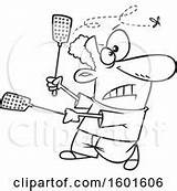 Fly Cartoon Swatters Kill Try Using Clip Coloring Outline sketch template