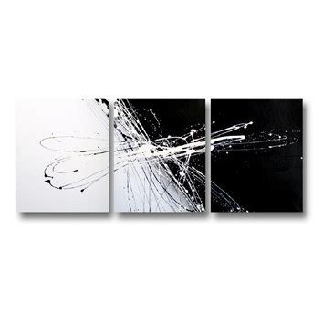 Abstract On Black Canvas by 3 Abstract Canvas Painting In Black And White