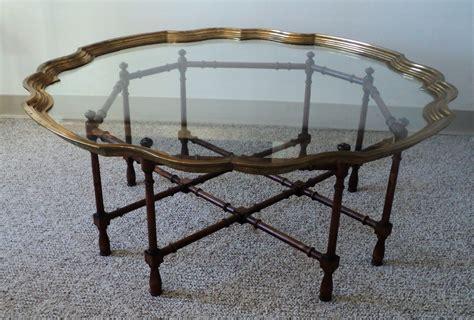 Hollywood Regency Brass & Glass Tray Coffee Table