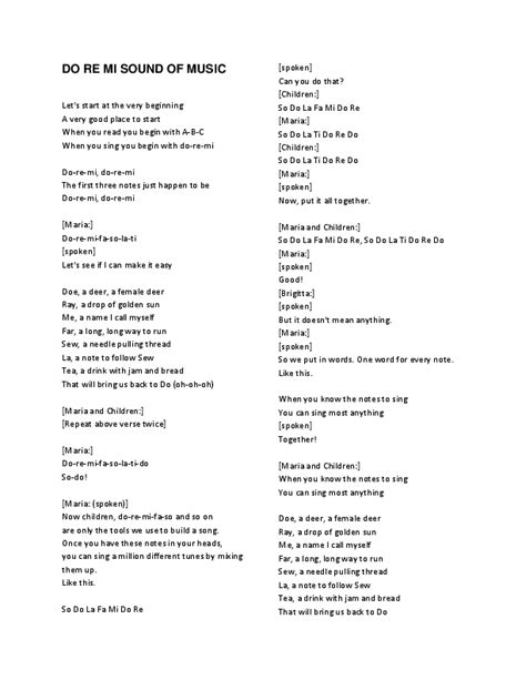Since the lyrics mostly repeat, this quizzes you until the end of the first chorus. (DOC) DO RE MI LYRICS EDELWEISS 16 TO 17   Andrei Alberto - Academia.edu