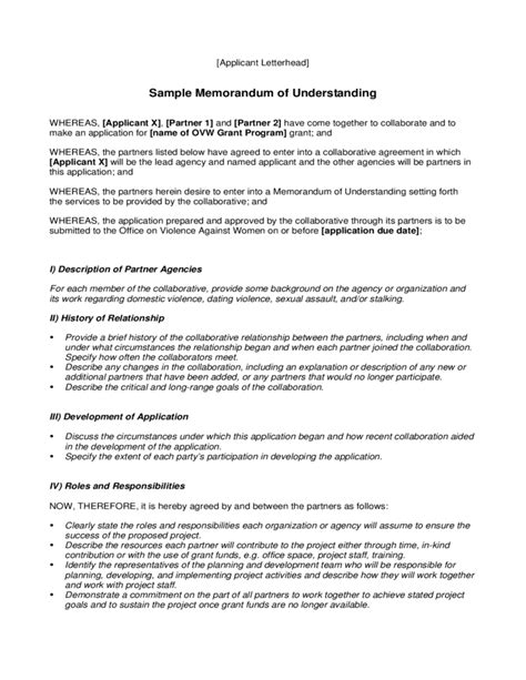 memorandum of understanding template sle memorandum of understanding free