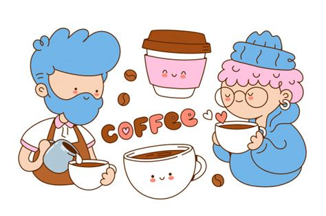 (you are downloading only the free cut file, other images are just for demonstration purposes). Coffee cute illustrations set. cartoon character illustration .isolated on white background ...