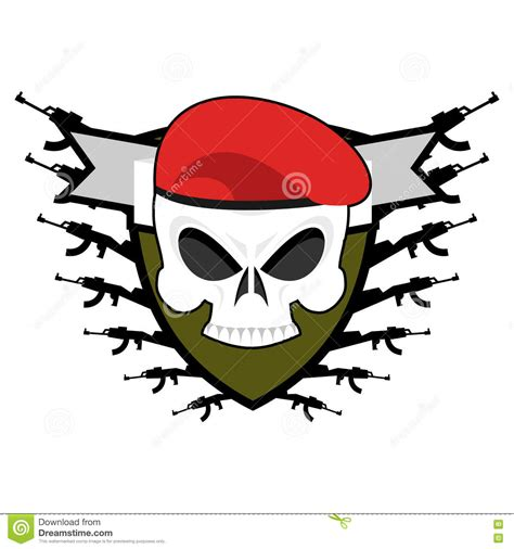 emblem army logo soldiers badge skull in beret wing stock vector illustration of