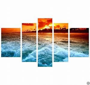 Tableau Plusieurs Panneaux : tableau moderne sunset beach ~ Teatrodelosmanantiales.com Idées de Décoration