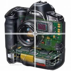 Kodak DCT Canon EOS digital SLR camera cutaway.